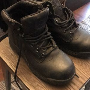Timberland black steel toed boots size 7